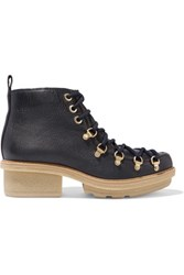 3.1 Phillip Lim Mallory Textured Leather Ankle Boots Midnight Blue