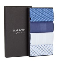 Harrods Of London Mixed Check Handkerchiefs Pack Of 4 Unisex Blue