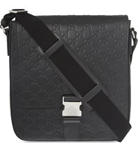 Gucci Gg Small Leather Messenger Black