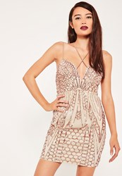 Missguided Nude Sequin Strappy Bodycon Dress