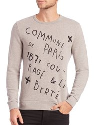 Commune De Paris Long Sleeve Cotton Pullover Dark Grey