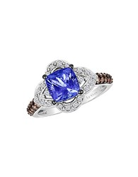 Le Vian Chocolatier Vanilla Diamond Chocolate Diamond Tanzanite And 14K White Gold Ring Blue