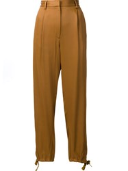 Maison Martin Margiela Mm6 High Waisted Cropped Trousers Brown