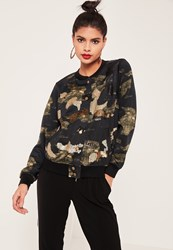 Missguided Khaki Sequin Camo Bomber Jacket Green