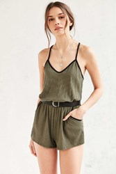 Silence And Noise Silence Noise Ribbed Knit Racerback Romper Green Multi