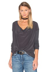 Chaser Drape Front Silk Top Charcoal