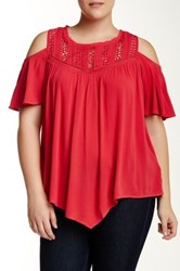 Democracy Crinkle Woven Cold Shoulder Blouse Plus Size Red