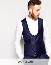 Noose And Monkey Double Breasted Waistcoat In Skinny Fit Navy