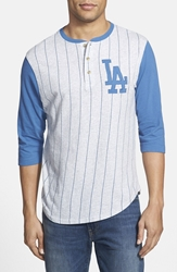 Red Jacket 'Los Angeles Dodgers Double Play' Jersey Henley Heather Grey Royal
