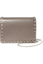Valentino The Rockstud Metallic Textured Leather Shoulder Bag Gold