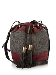 See By Chloe Vicki Medium Leather Cross Body Bucket Bag Grey Multi