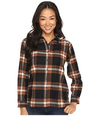 Pendleton Petite Meredith Shirt Black Brown Plaid Women's Long Sleeve Button Up