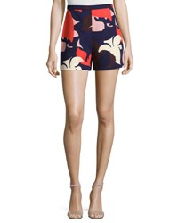 Delpozo Bold Floral Print Shorts Print On Blue Bas