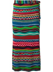 Missoni Vintage Striped Knitted Skirt Green