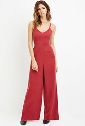 Forever 21 Contemporary Wide Leg Jumpsuit Red