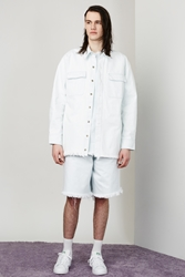 Marques'almeida Patch Pocket Oversized Denim Shirt Baby Blue