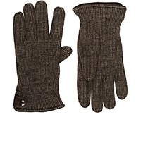 Barneys New York Men's Fleece Lined Houndstooth Knit Wool Gloves Brown