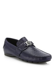 Versace Grecca Leather Logo Medallion Loafers Blue