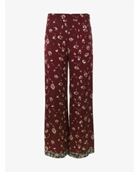 Etro Wide Leg Trousers With Floral Print Red White