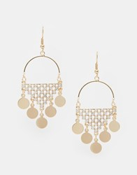 Love Rocks Disc Drop Earrings Gold