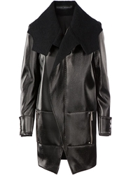 Anthony Vaccarello Structured Lacquered Coat Black