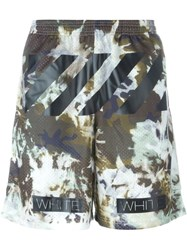 Off White Camouflage Track Shorts Green
