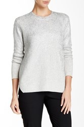 Rebecca Taylor Foil Wool Blend Pullover Gray