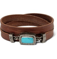 Valentino Leather And Silver Tone Wrap Bracelet Burgundy