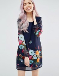 Yumi Long Sleeve Shift Dress In Floral And Butterfly Print Navy