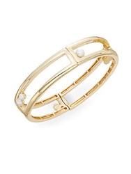 Saks Fifth Avenue Faux Pearl Bangle Bracelet Gold