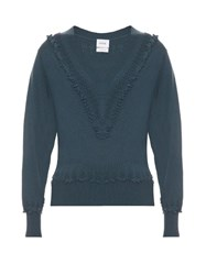 Barrie Romantic V Neck Cashmere Sweater Green