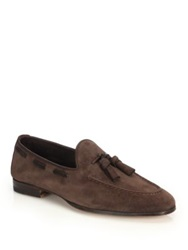 Santoni Burnett Suede Tassel Loafers Dark Brown