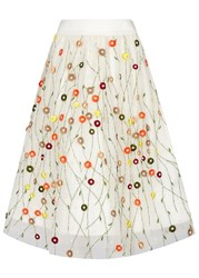 Alice Olivia Catrina Embroidered Tulle Midi Skirt White