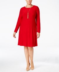 Jessica Howard Plus Size Fit And Flare Sweater Dress Red