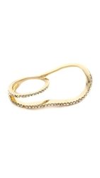 Swirly Pave Double Ring Gold