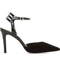 Dune Chelsee Suede Heeled Courts Black Suede