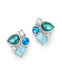 Ippolita Sterling Silver Wonderland Mixed Doublet Cluster Earrings In Blue Star Blue Silver