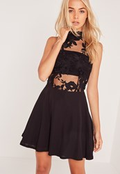Missguided Lace Top Sleeveless Skater Dress Black Black