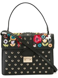 Red Valentino Floral Embroidery Satchel Black