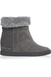 Common Projects Faux Shearling Lined Suede Wedge Ankle Boots Dark Gray
