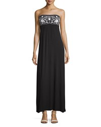 Design History Embroidered Strapless Maxi Dress Onyx Black White