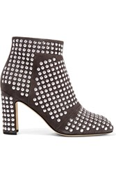 Christopher Kane Studded Suede Ankle Boots Gray