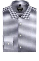 Barneys New York Men's Gingham Poplin Shirt Blue