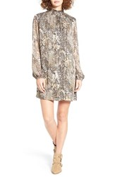 Mimi Chica Women's Print Smock Neck Shift Dress Taupe Animal