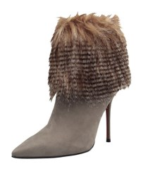Carrano Lexie Leather Faux Fur Bootie Gray