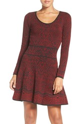 Fraiche By J Women's Intarsia Fit And Flare Sweater Dress