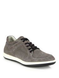 Giorgio Armani Suede Low Top Sneakers Anthracite