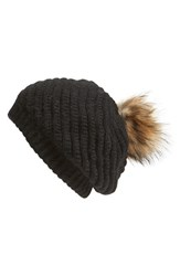 Women's Linda Richards Slouchy Angora Blend Beanie With Genuine Raccoon Pom