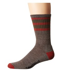 Smartwool Striped Hike Light Crew Taupe Moab Rust Men's Crew Cut Socks Shoes Brown