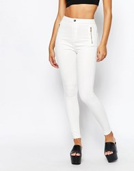 Missguided Vice Highwaisted Zipped Superstretch Skinny White